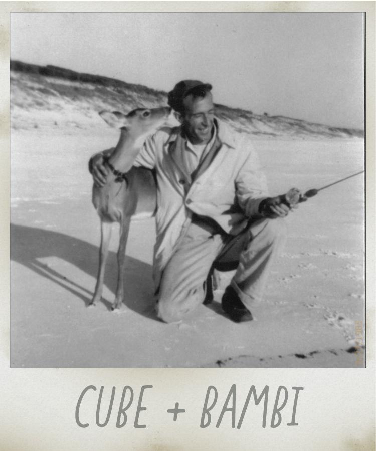 Cube McGee and pet deer Bambi. Surfing Deer, Seagrove Beach FL