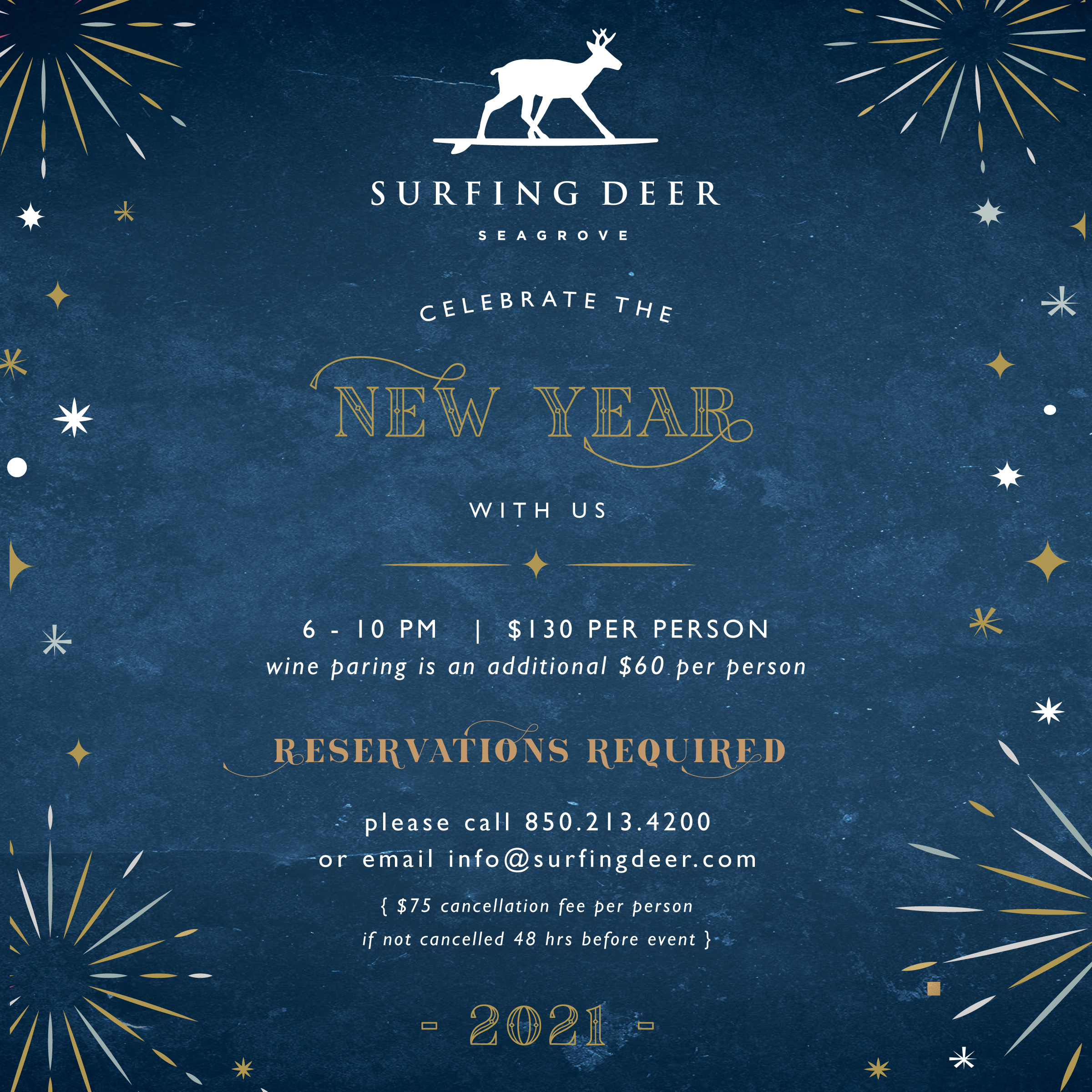 surfing deer new year's ever 2020